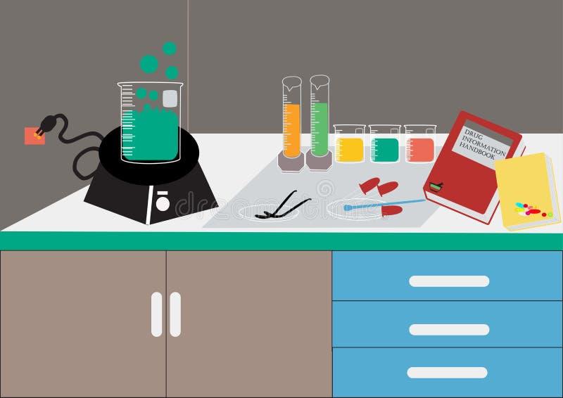 Vettore del laboratorio di scienza Laboratorio chimico, cristalleria chimica illustrazione di vettore, progettazione piana royalty illustrazione gratis