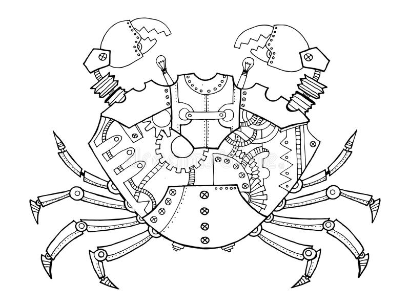 Vettore del libro da colorare del granchio di stile di Steampunk illustrazione vettoriale