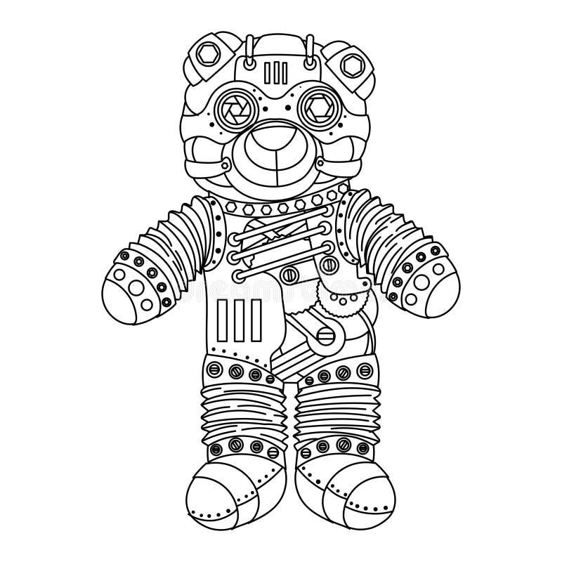 Vettore del libro da colorare dell'orso di stile di Steampunk illustrazione vettoriale