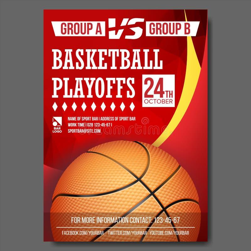 Vettore del manifesto di pallacanestro Progettazione per la promozione di Antivari di sport Sfera di pallacanestro Torneo moderno illustrazione vettoriale