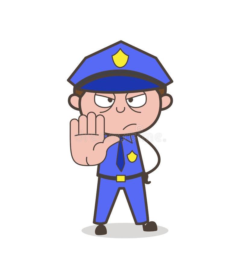 Vettore del A mano segno di arresto di rappresentazione del vigile urbano del fumetto royalty illustrazione gratis