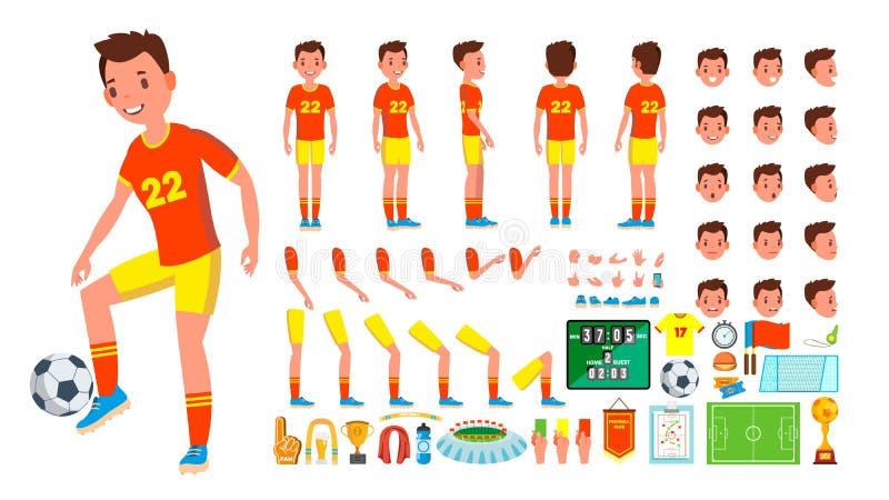 Vettore del maschio del calciatore insieme animato della creazione del carattere L'uomo integrale, anteriore, lato, vista posteri royalty illustrazione gratis