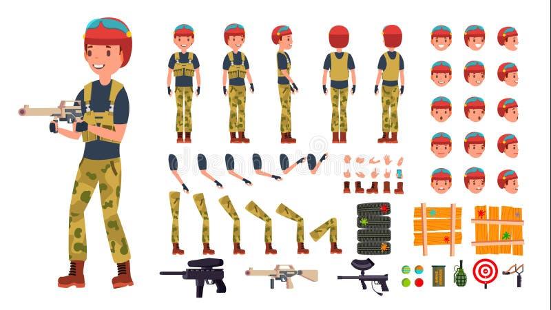 Vettore del maschio del giocatore di paintball insieme animato della creazione del carattere Uomo del giocatore di battaglia del  royalty illustrazione gratis