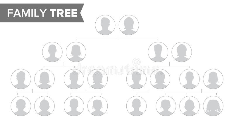 Vettore del modello dell'albero genealogico Albero di storia della famiglia con i ritratti predefiniti della gente Illustrazione  illustrazione vettoriale