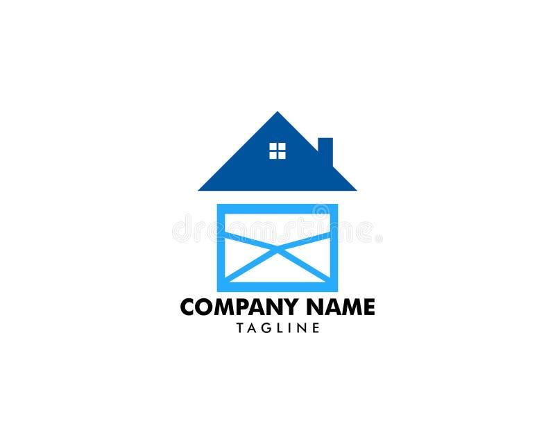 Vettore del modello di concetto di progetto di logo della casa della posta illustrazione di stock