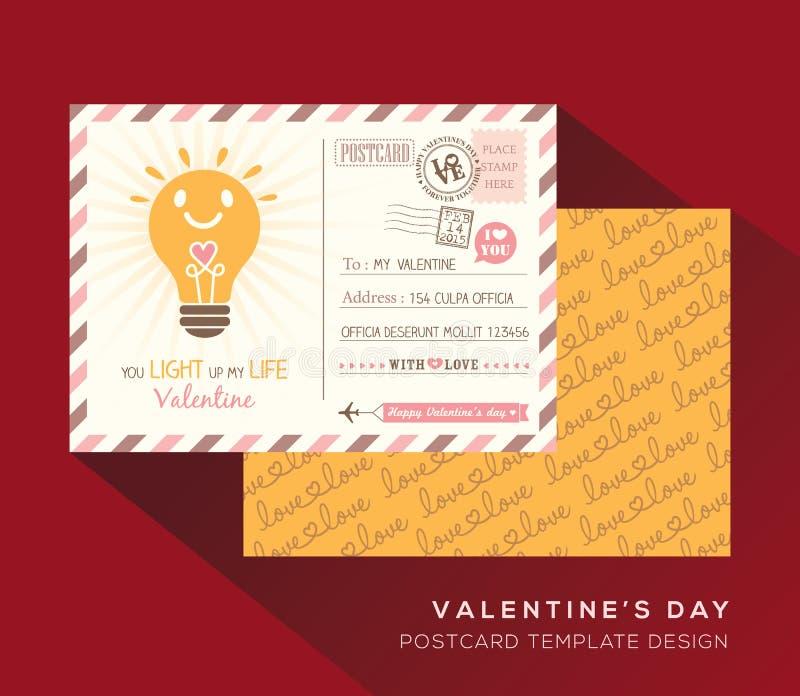 Vettore del modello di progettazione dell'invito della cartolina del biglietto di S. Valentino illustrazione di stock