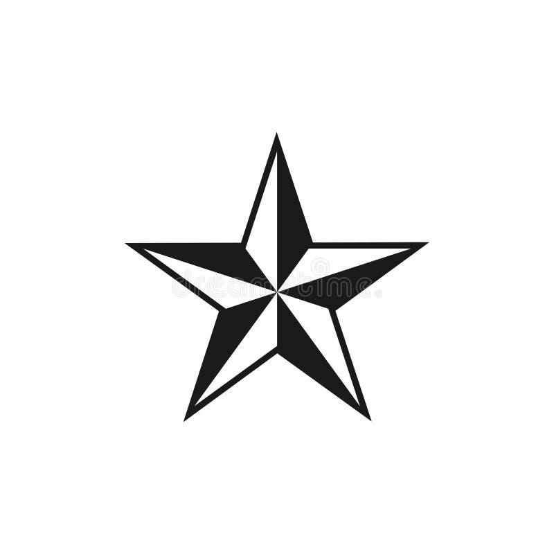Vettore del modello di progettazione grafica della rosa dei venti della stella illustrazione vettoriale