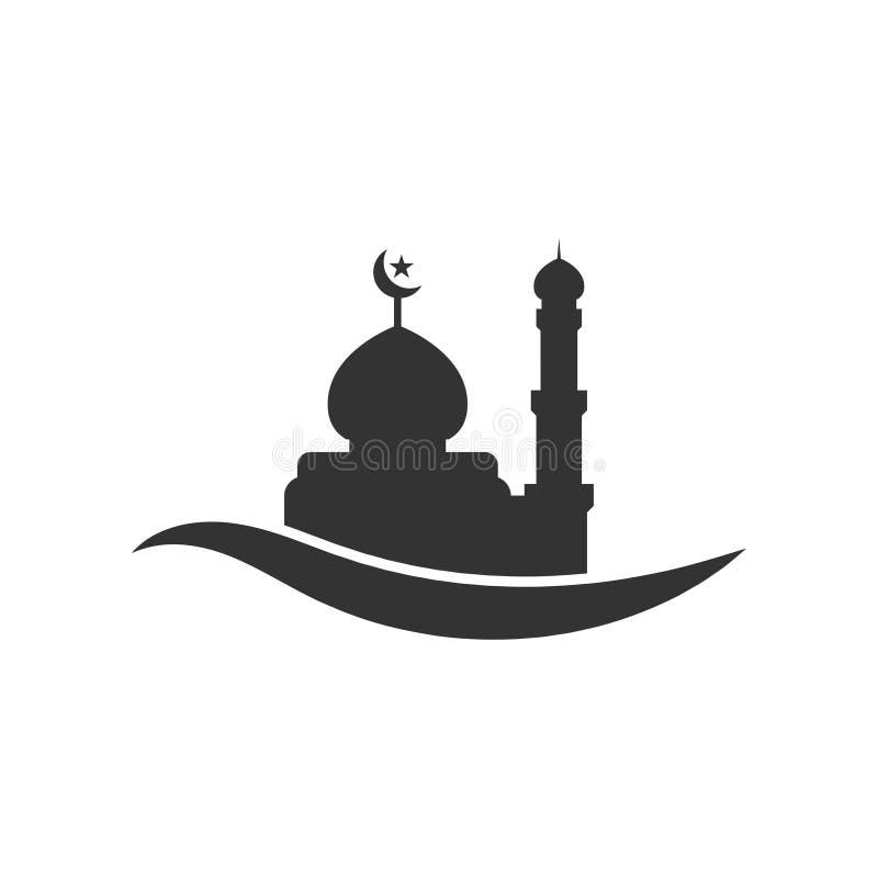 Vettore del modello di progettazione grafica della siluetta della moschea illustrazione vettoriale