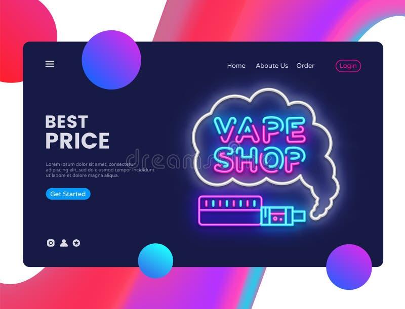 Vettore del modello di progettazione del negozio di Vape Interfaccia dell'insegna di web di Vaping, insegna al neon, progettazion illustrazione vettoriale