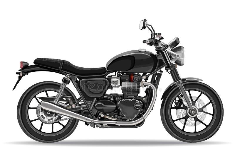 Vettore del motociclo, illustrazione realistica Motocicletta nera di profilo con molti dettagli su un fondo bianco illustrazione vettoriale