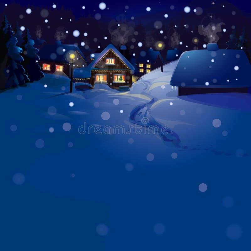 Vettore del paesaggio di inverno. Buon Natale! illustrazione di stock