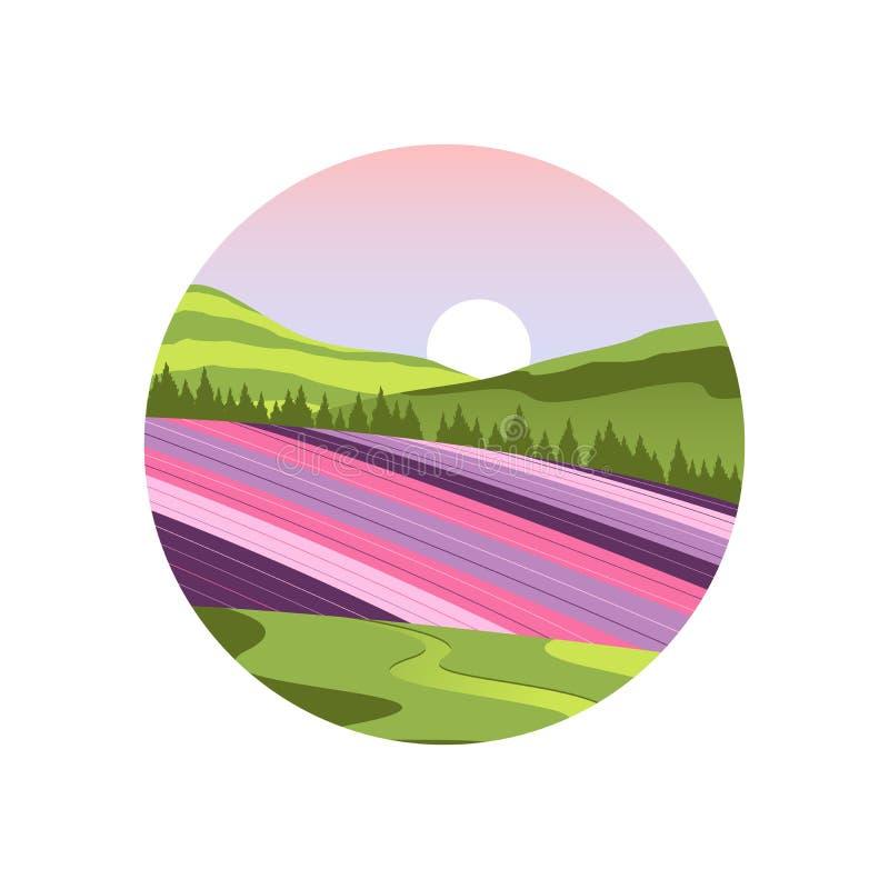 Vettore del paesaggio del giacimento di fiore del Giappone Hokkaido royalty illustrazione gratis