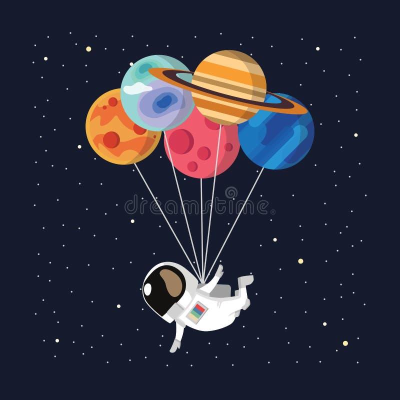 vettore del pallone dell'astronauta fotografia stock libera da diritti