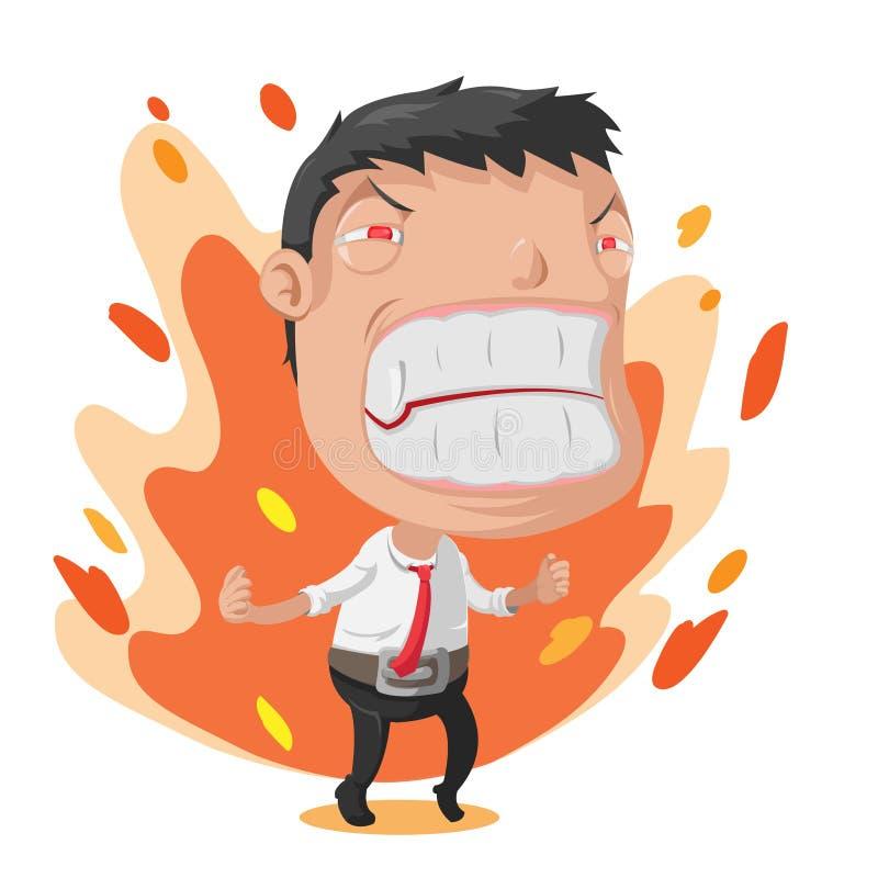 Vettore del personaggio dei cartoni animati di rabbia
