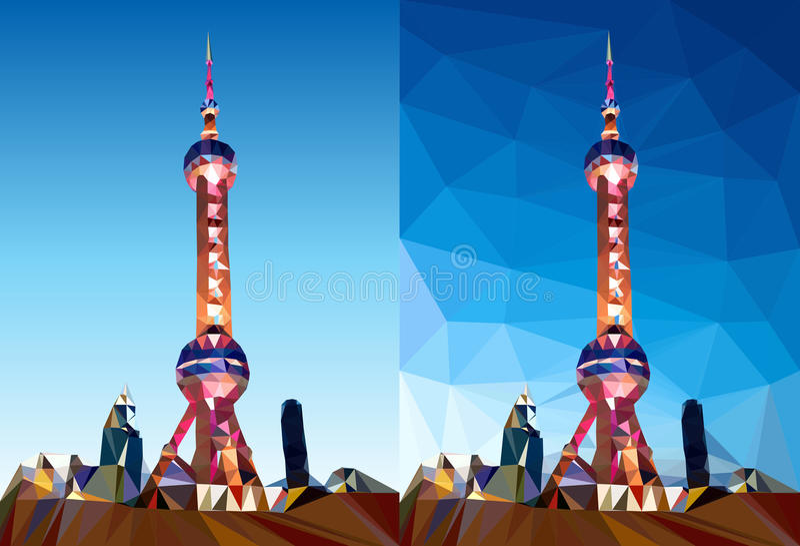 Vettore del poligono della torre della perla di Shanghai illustrazione di stock