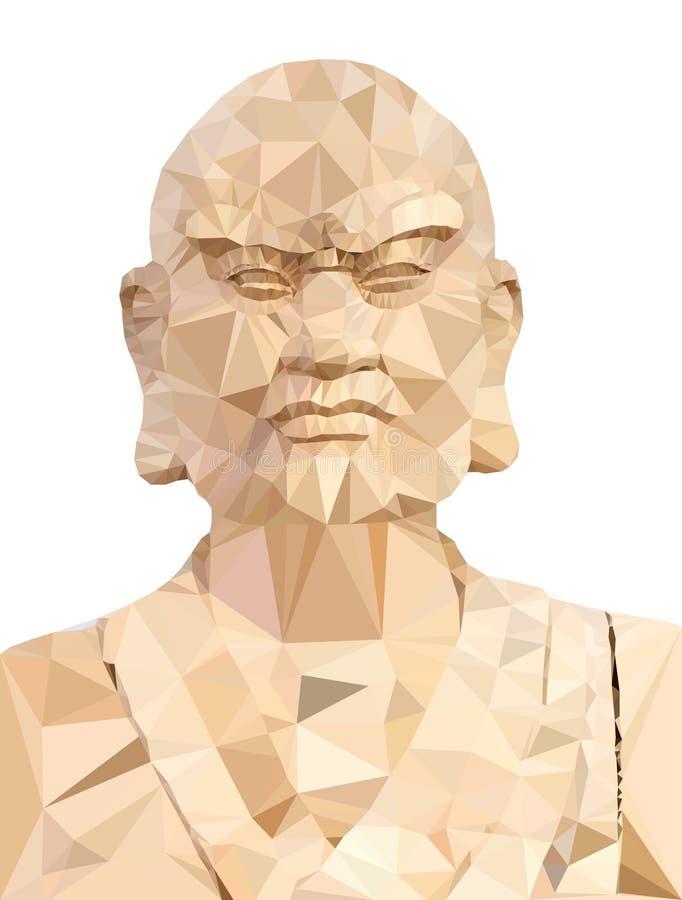 Vettore del poligono di Buddha di legno illustrazione di stock