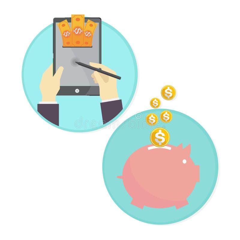 Vettore del porcellino salvadanaio dei soldi di risparmio dell'uomo di affari online illustrazione di stock