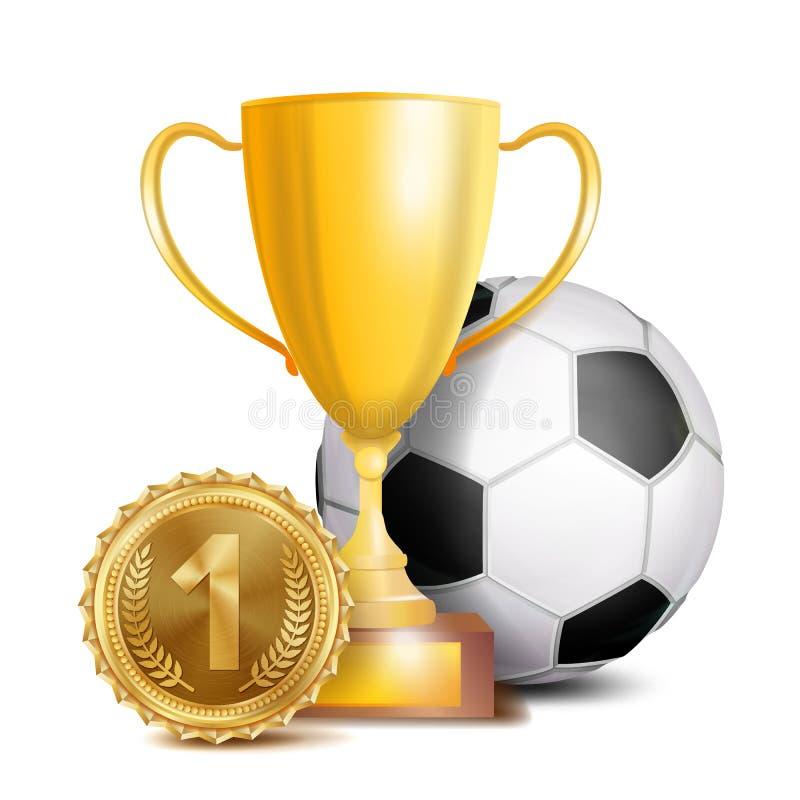 Vettore del premio di calcio Fondo dell'insegna di sport Palla, tazza del trofeo del vincitore dell'oro illustrazione vettoriale