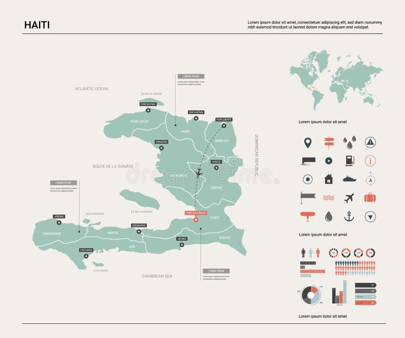 vettore del programma dell'Haiti Alta mappa dettagliata del paese con divisione, le citt? ed il Port-au-Prince capitale Mappa pol illustrazione di stock