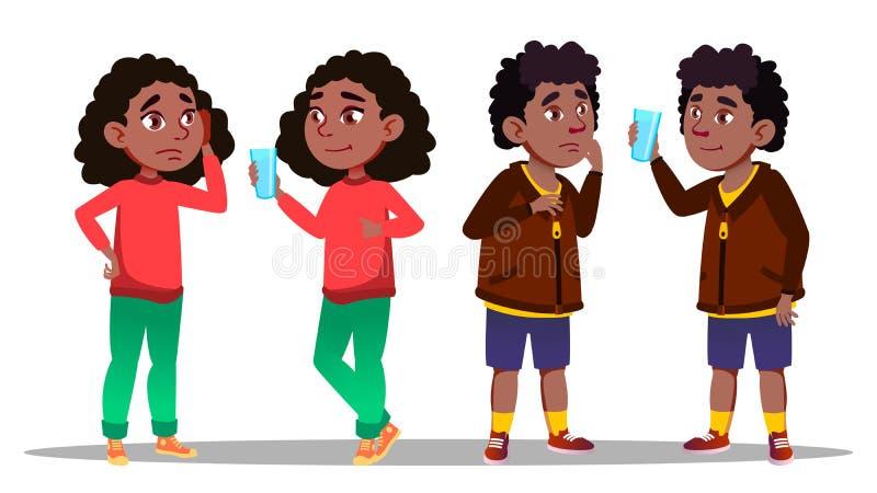 Vettore del ragazzo e della ragazza dell'adolescente del carattere di sete illustrazione vettoriale