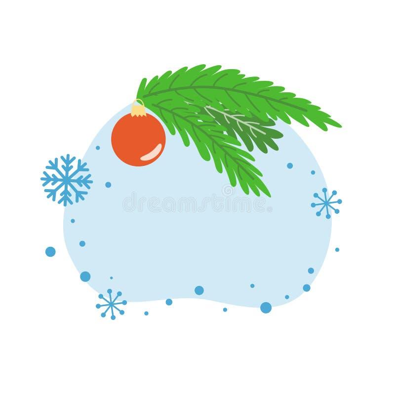 Vettore del ramo di albero della palla di Natale dell'invito della cartolina d'auguri del nuovo anno dell'insegna di Natale del m illustrazione vettoriale
