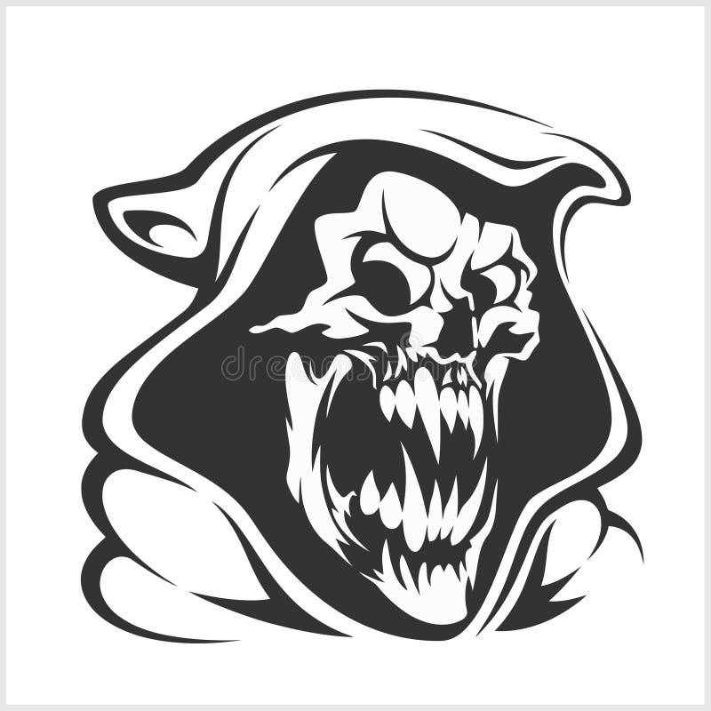 Vettore del segno di morte orrore, falce diabolica, illustrazione dello scheletro del fantasma illustrazione di stock