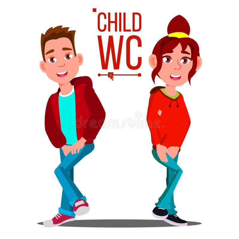 Vettore del segno del WC del bambino Ragazzo e ragazza Icona della toilette Illustrazione isolata del fumetto royalty illustrazione gratis