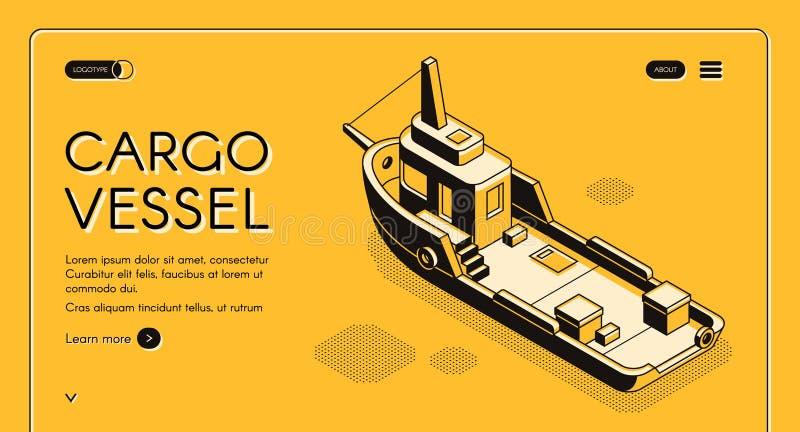Vettore del sito Web della società del trasporto marittimo del carico illustrazione vettoriale