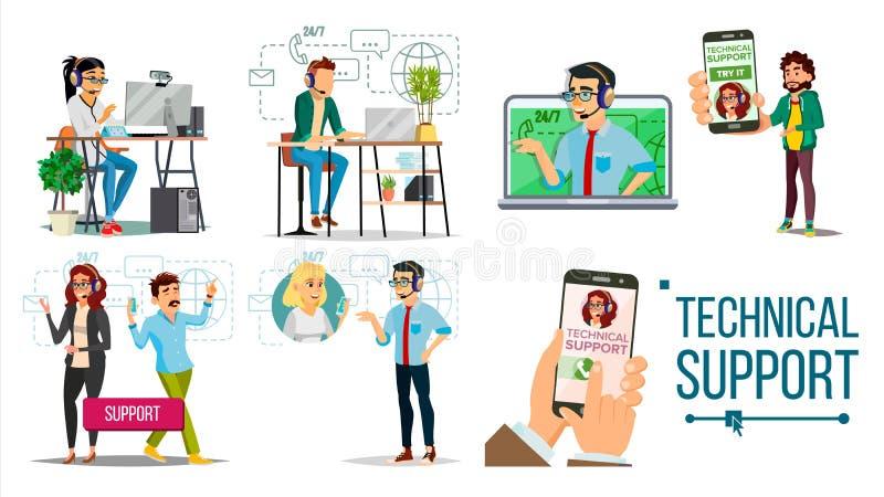 Vettore del supporto tecnico Online 24 supporti tecnici 7 headset Servizio di sostegno Operatore e cliente risposta illustrazione vettoriale