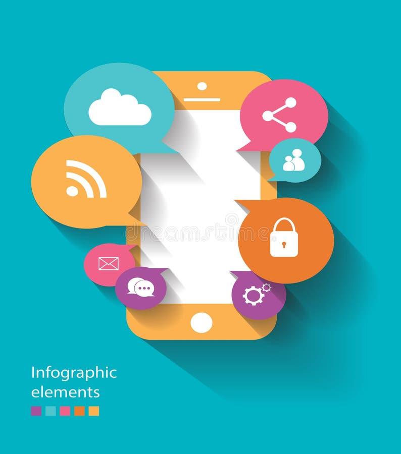 Vettore del telefono cellulare degli elementi di Infographic piano fotografia stock libera da diritti