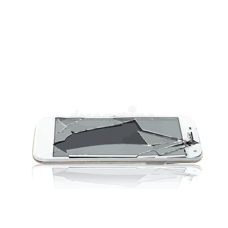 Vettore del telefono di vetro rotto cellulare immagine stock
