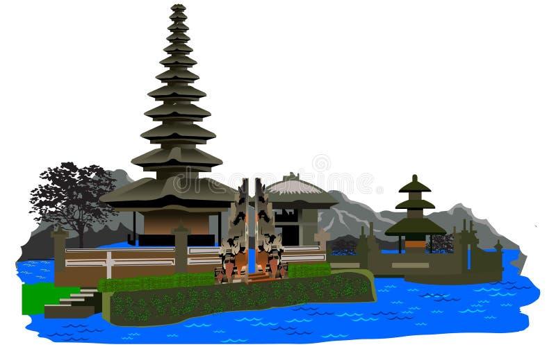 Vettore del tempio di Bratan Beratan del lago fotografie stock