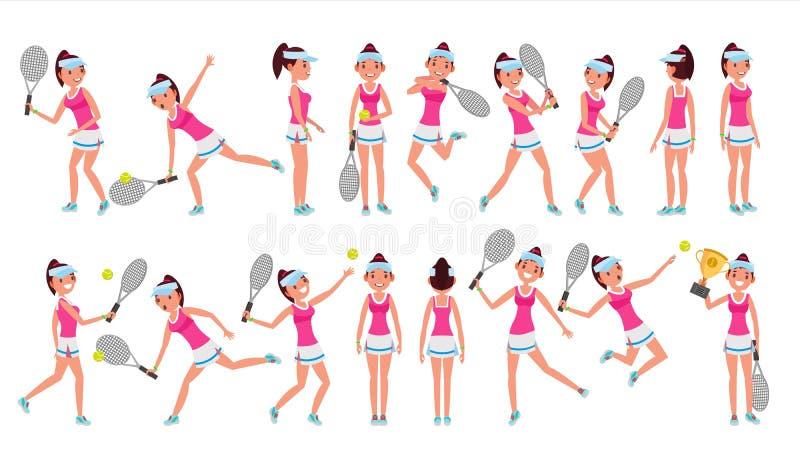 Vettore del tennis della donna Giocando con la sfera Pose differenti Nell'azione Illustrazione piana del fumetto illustrazione di stock