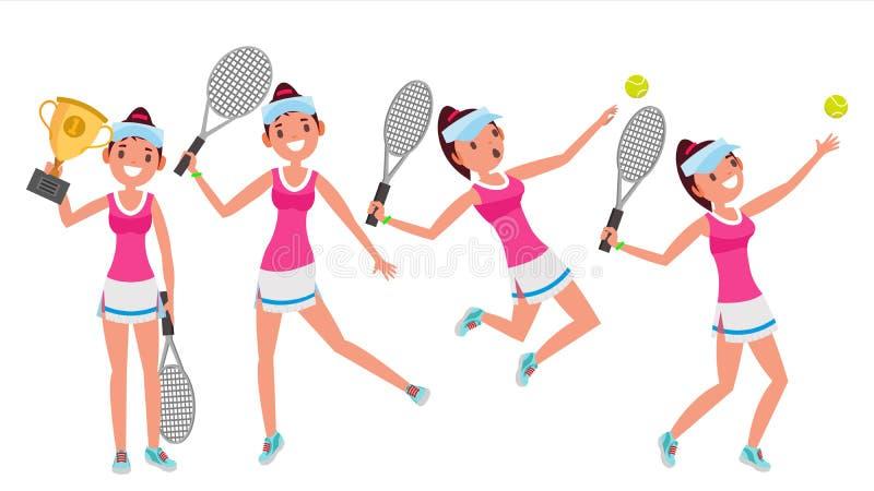 Vettore del tennis Giovane e sano Giocatori che praticano con la racchetta di tennis Illustrazione piana del fumetto illustrazione vettoriale