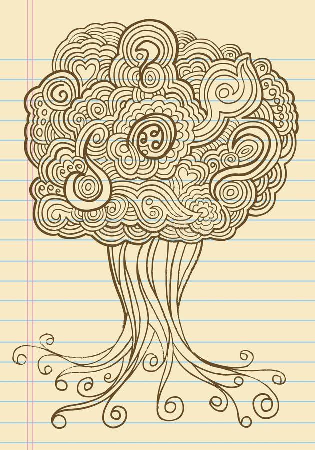 Vettore dell'albero del hennè di abbozzo di Doodle del taccuino illustrazione di stock