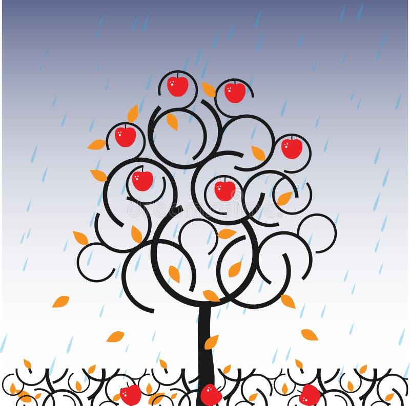 vettore dell'albero di autunno della mela illustrazione vettoriale