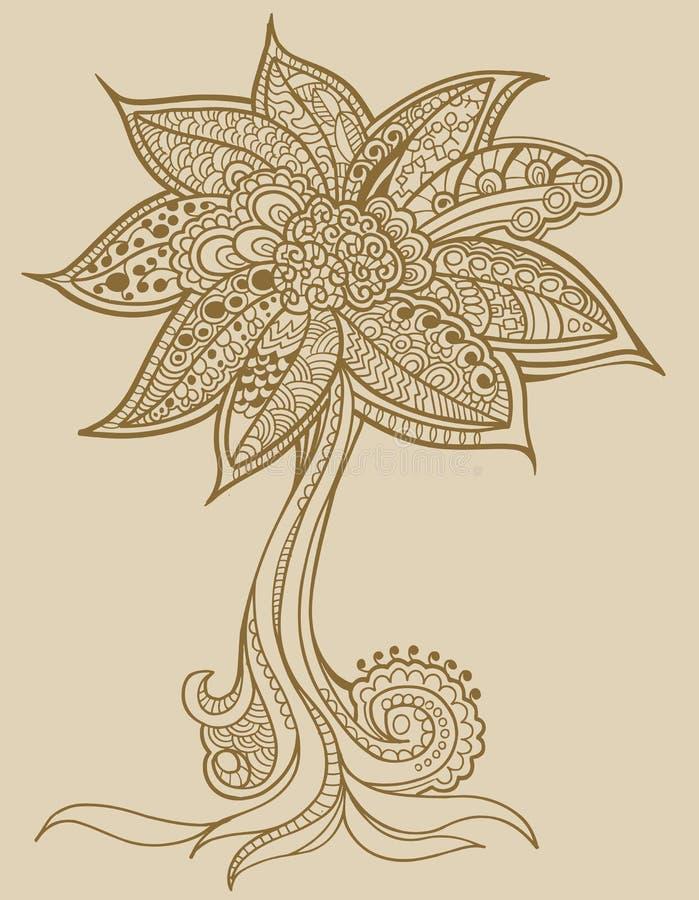 Vettore dell'albero di doodle del hennè royalty illustrazione gratis