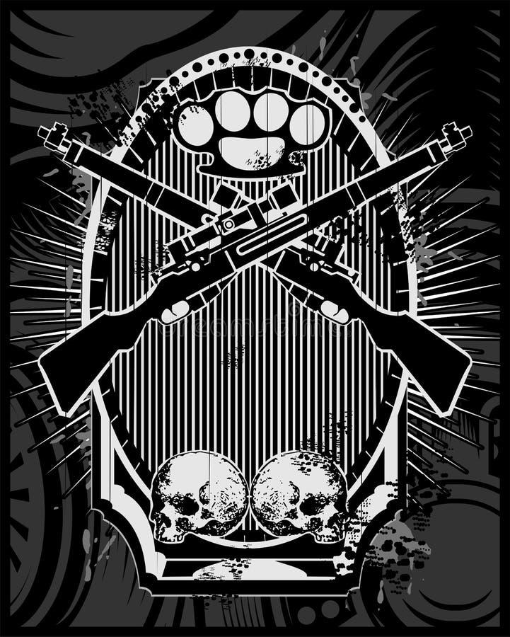 Vettore dell'arma, della pistola, dell'articolazione e del cranio illustrazione vettoriale