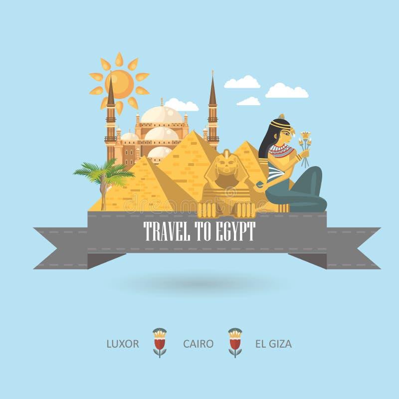 Vettore dell'Egitto su fondo blu-chiaro Icone tradizionali egiziane nella progettazione piana Vacanza ed estate illustrazione di stock