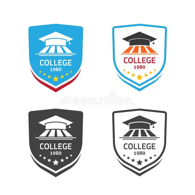 Vettore dell'emblema dell'università, concetto del simbolo della cresta della scuola illustrazione di stock