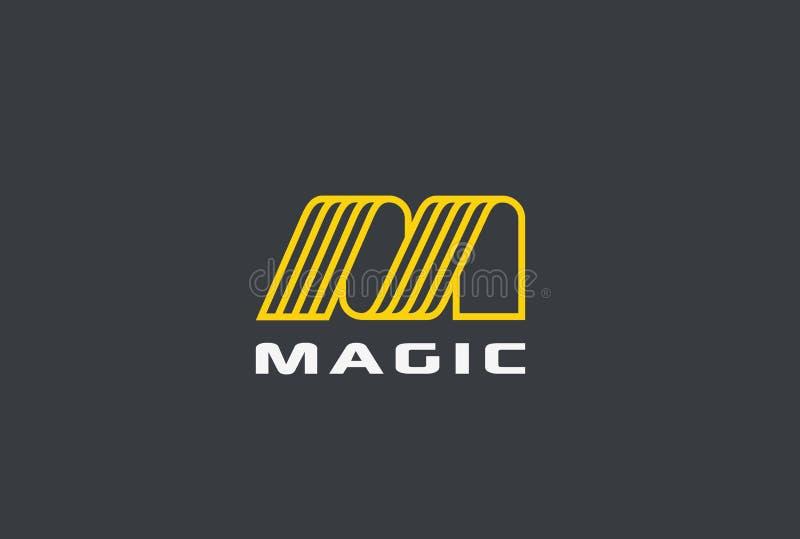 Vettore dell'estratto di progettazione del nastro della lettera m. Logo lineare illustrazione di stock