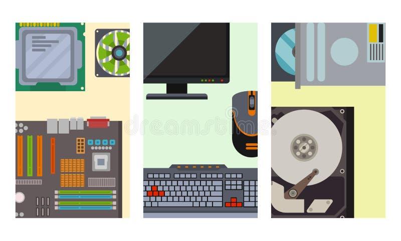 Vettore dell'hardware dell'azionamento dell'unità di elaborazione di desktop pc dei dispositivi di elettronica degli accessori co royalty illustrazione gratis