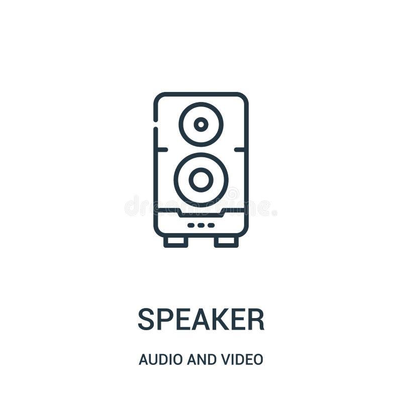 vettore dell'icona dell'altoparlante dall'audio e video raccolta Linea sottile illustrazione di vettore dell'icona del profilo de illustrazione vettoriale