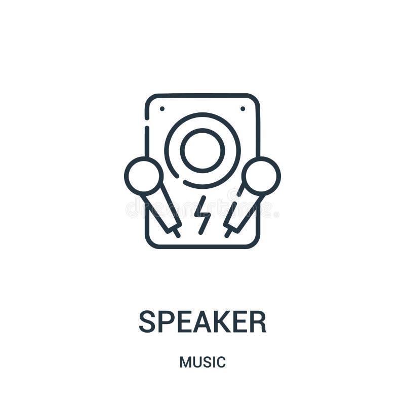 vettore dell'icona dell'altoparlante dalla raccolta di musica Linea sottile illustrazione di vettore dell'icona del profilo dell' illustrazione vettoriale