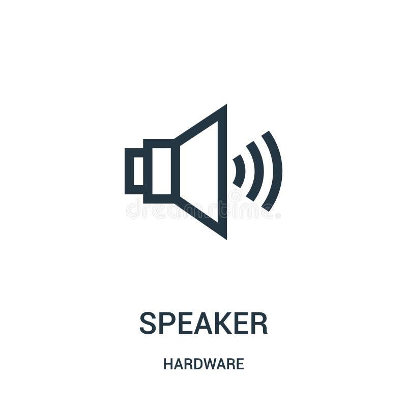 vettore dell'icona dell'altoparlante dalla raccolta dell'hardware Linea sottile illustrazione di vettore dell'icona del profilo d royalty illustrazione gratis