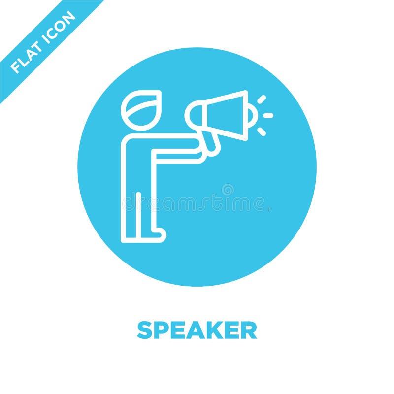 Vettore dell'icona dell'altoparlante Linea sottile illustrazione di vettore dell'icona del profilo dell'altoparlante simbolo dell illustrazione di stock
