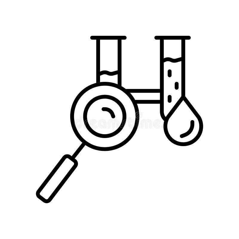 Vettore dell'icona dell'analisi del sangue isolato su fondo bianco, segno dell'analisi del sangue, linea sottile elementi di prog illustrazione vettoriale