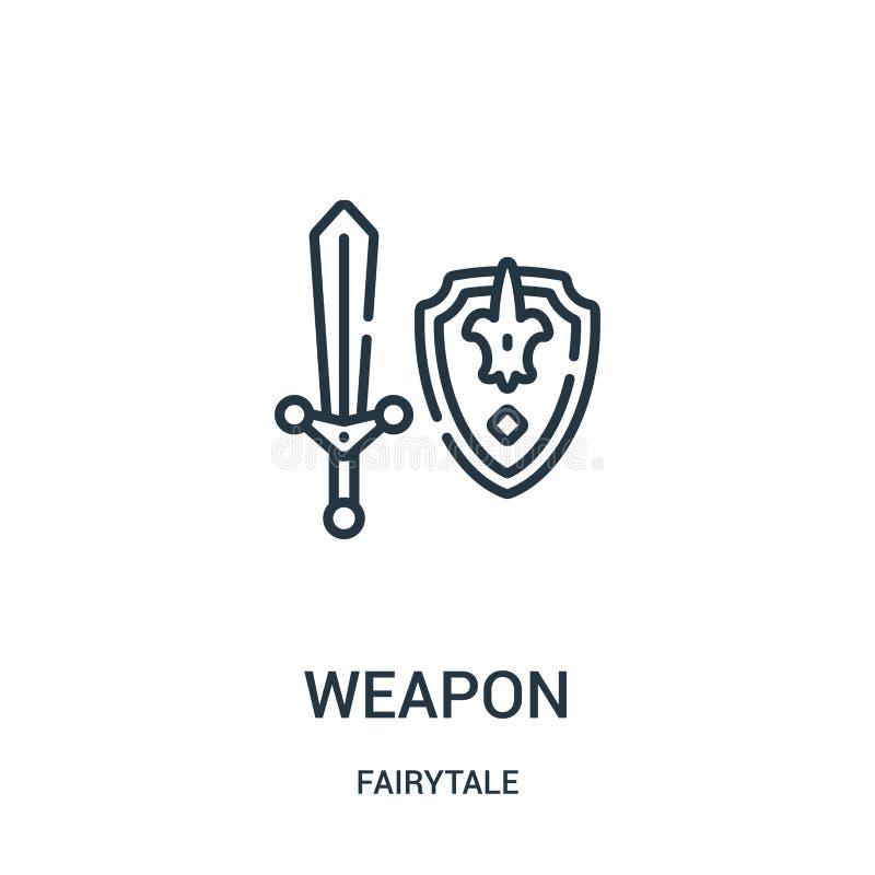 vettore dell'icona dell'arma dalla raccolta di favola Linea sottile illustrazione di vettore dell'icona del profilo dell'arma royalty illustrazione gratis