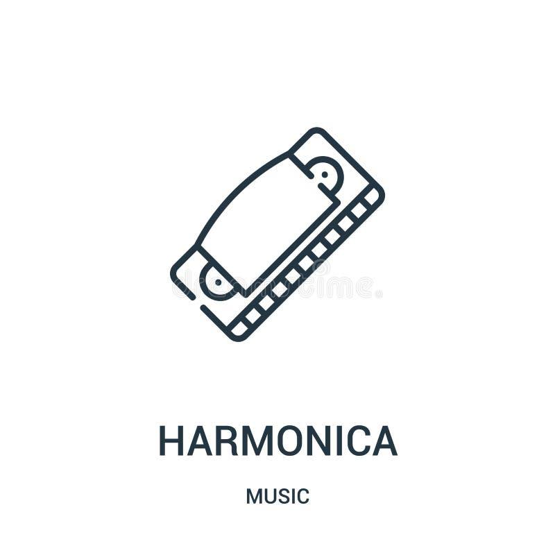 vettore dell'icona dell'armonica dalla raccolta di musica Linea sottile illustrazione di vettore dell'icona del profilo dell'armo illustrazione di stock