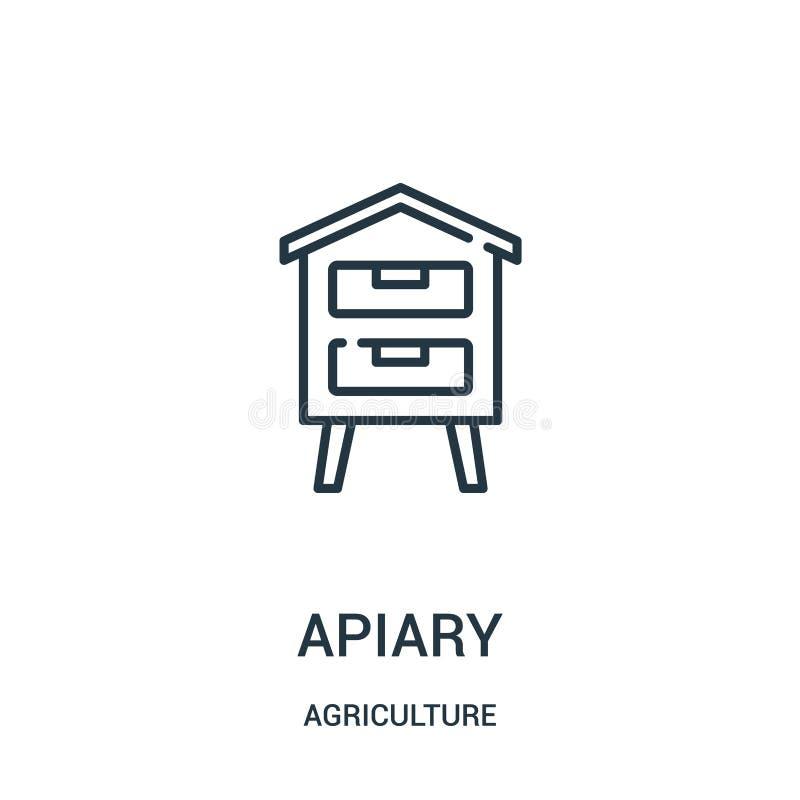 vettore dell'icona dell'arnia dalla raccolta di agricoltura Linea sottile illustrazione di vettore dell'icona del profilo dell'ar illustrazione di stock